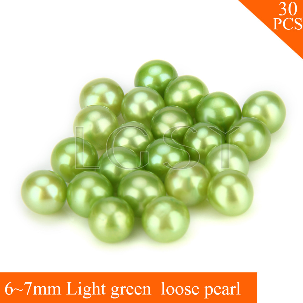 FREE SHIPPING, Shinning 6-7mm AAA Light green saltwater round akoya pearls 30pcs for fitting Jewelries cluci free shipping get 40 pearls from 20pcs 6 7mm aaa blue round akoya oysters twins pearls in one oysters