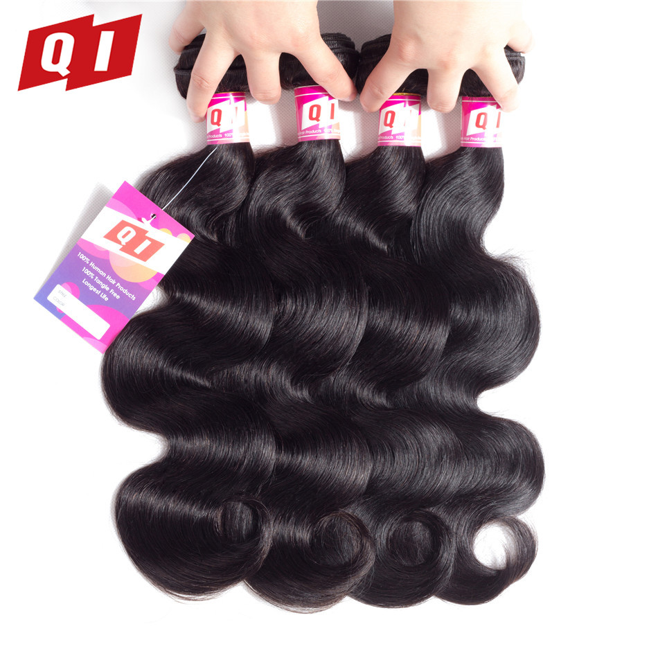 QI Hair Body Wave 100% Peruvian Hair Weave 4 Bundles 100% Non Remy Human Natural Color Hair Weaves Extensions