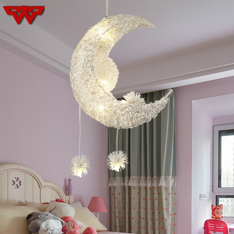 Stars and moon children's room lamps creative personality chandelier, moon chandelier, restaurant bedroom Moon Pendant lamp white hollow moon full of stars necklace page 2