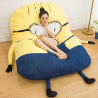Personality Gift Minions Tatami Totoro Double Folding Bed Beanbag Cartoon Memory Foam Mattress Cushion Plush Minion Bed Sofa