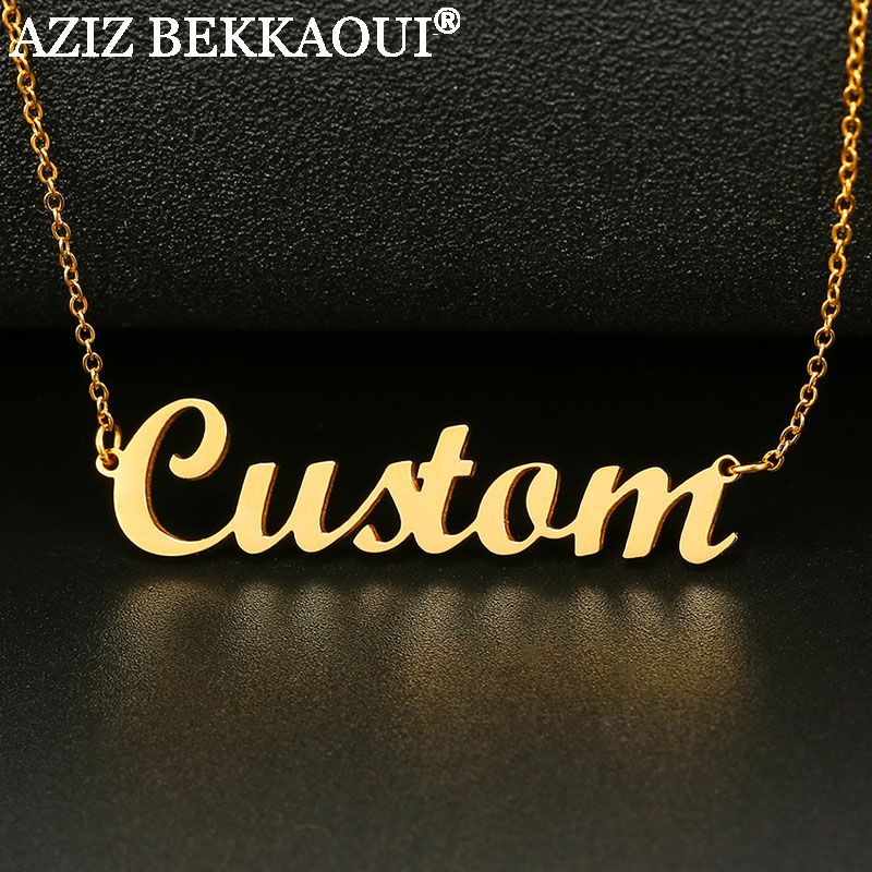 Name Necklace Stainless Steel Personalized Custom Necklaces for Women Simple Style Pendant Necklace Dropshipping