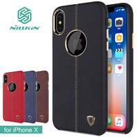 For IPhone X Case Nillkin Englon Series Cell Phone Leather Case Luxury Back Cover Case For