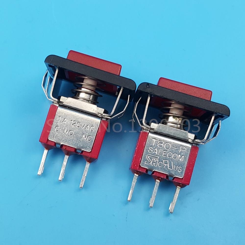 2Pcs SALECOM T80-P Red Square Momentary 3Pin Mini Push Button Switch SPDT 1A/125VAC red 2 pin spst miniature 2a 125vac 12mm hole no momentary push button switch