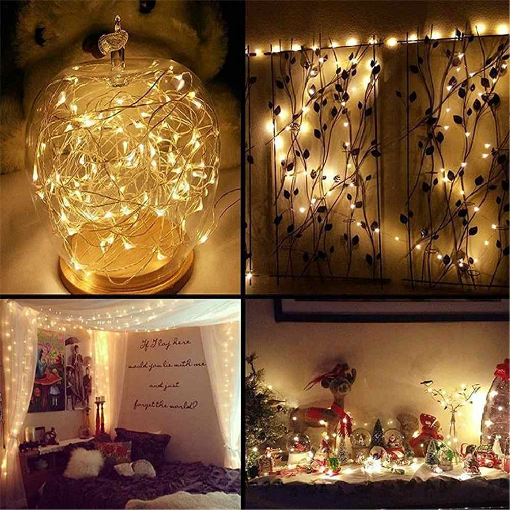 5M 50 LED Battery Box Silver Copper Wire Holiday Decoration Light String Holiday Outdoor Fairy Lights For Christmas Party
