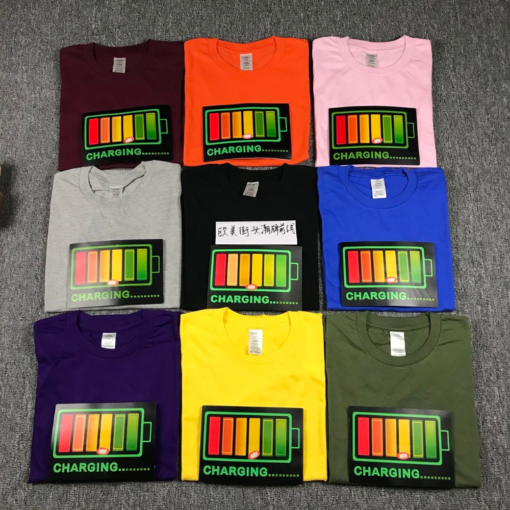 2018 Summer Sound Activated Led T Shirt Men Women Light Up And Down Flashing Equalizer EL T-Shirt Men For Rock Disco Party DJ To