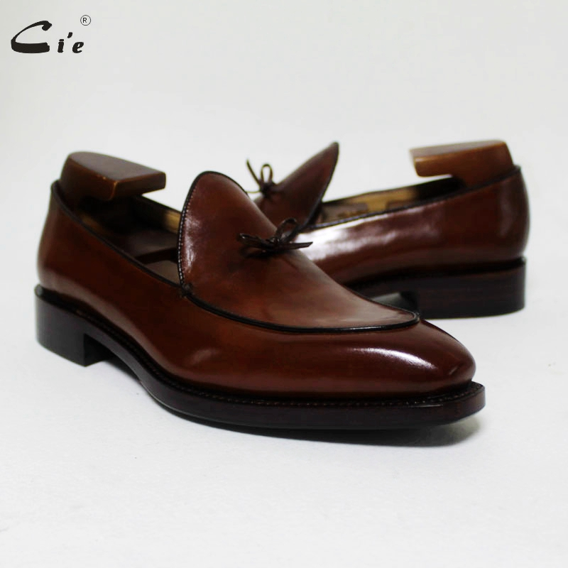 Cie Square Toe Bow Tie Brown Boat  Shoe Hand-painted Calf Leather Men Shoe Handmade Can Change Color Breathable Men's Loafer 171