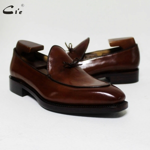 Image 1 - cie square toe bow tie brown boat  shoe hand painted calf leather men shoe handmade can change color breathable mens loafer 171