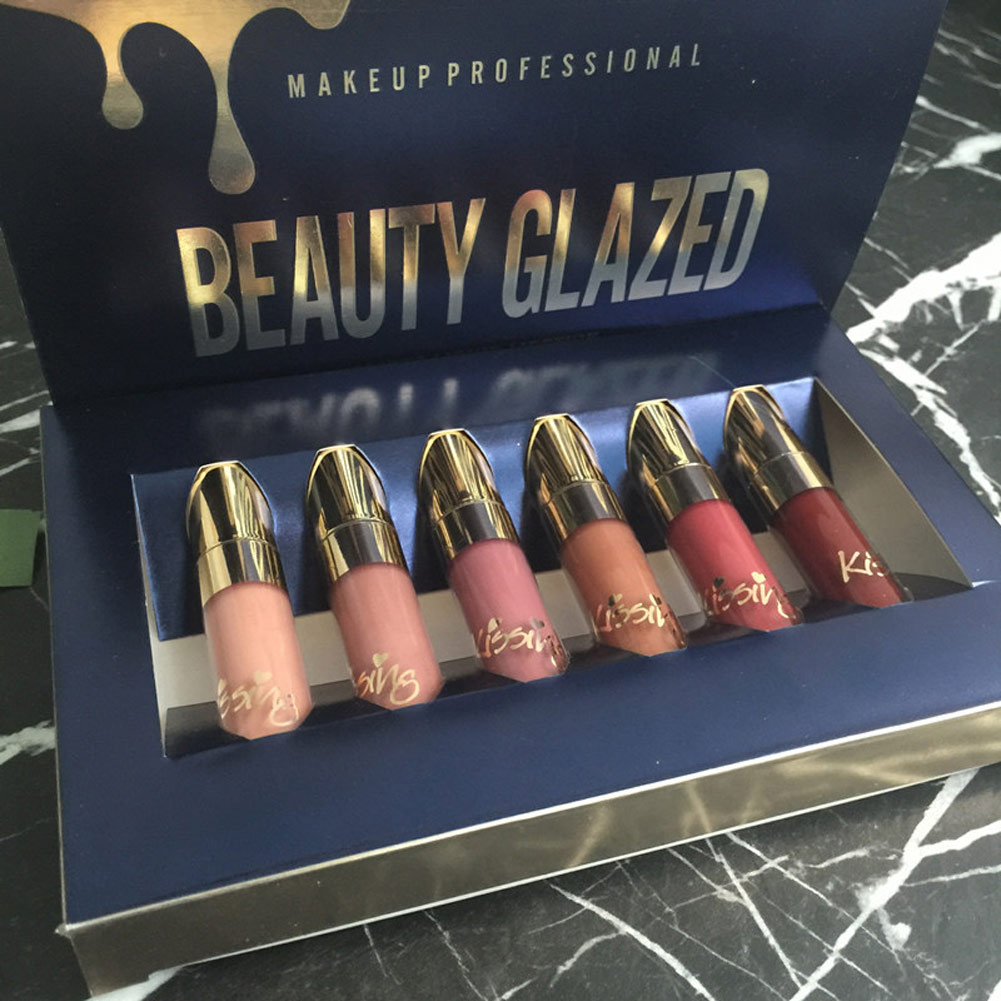 High Quality BEAUTY GLAZED 6Pcs/Set Lipstick Lip Gloss Matte Long-lasting Waterproof Makeup Tools 2018 New  88 1