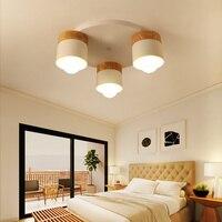 Скандинавский потолочный светильник для спальни деревянный обеденный зал светодиодные лампы простой современный потолочный светильник д