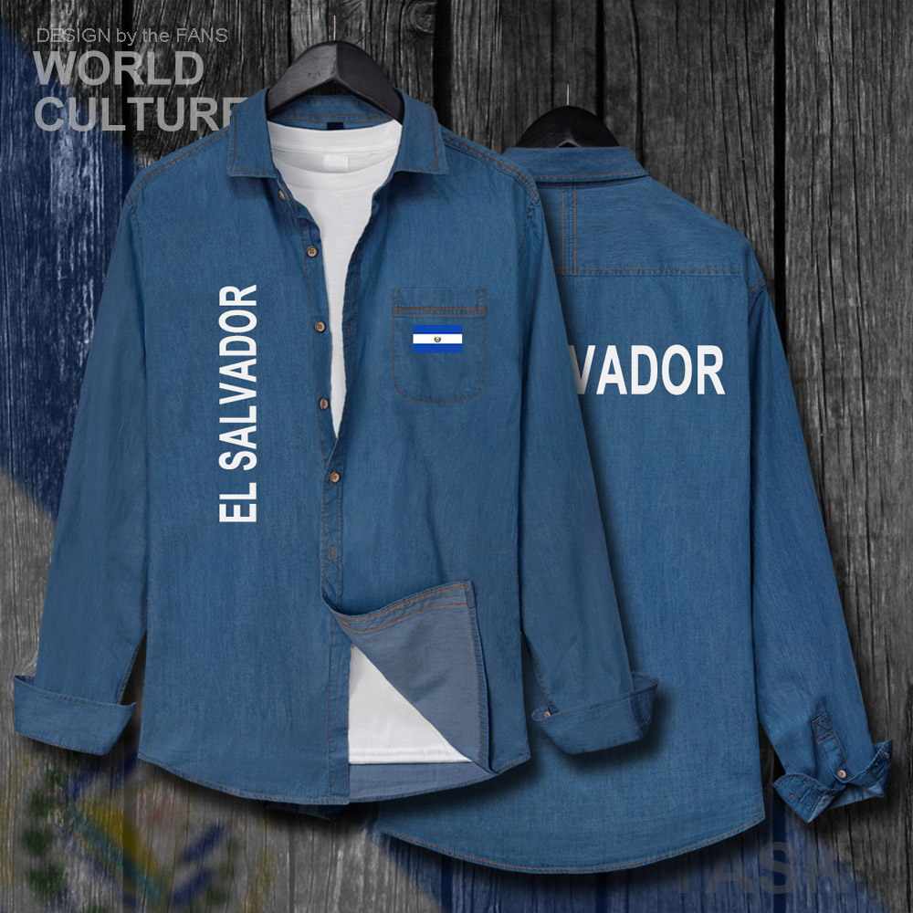 Haben Sie Einen Fragenden Verstand El Salvador Salvadoran Slv Männer Fahnen Tops Herbst Baumwolle Drehen-unten Kragen Jeans Hemd Langarm Cowboy Mantel Mode Neue Kleidung