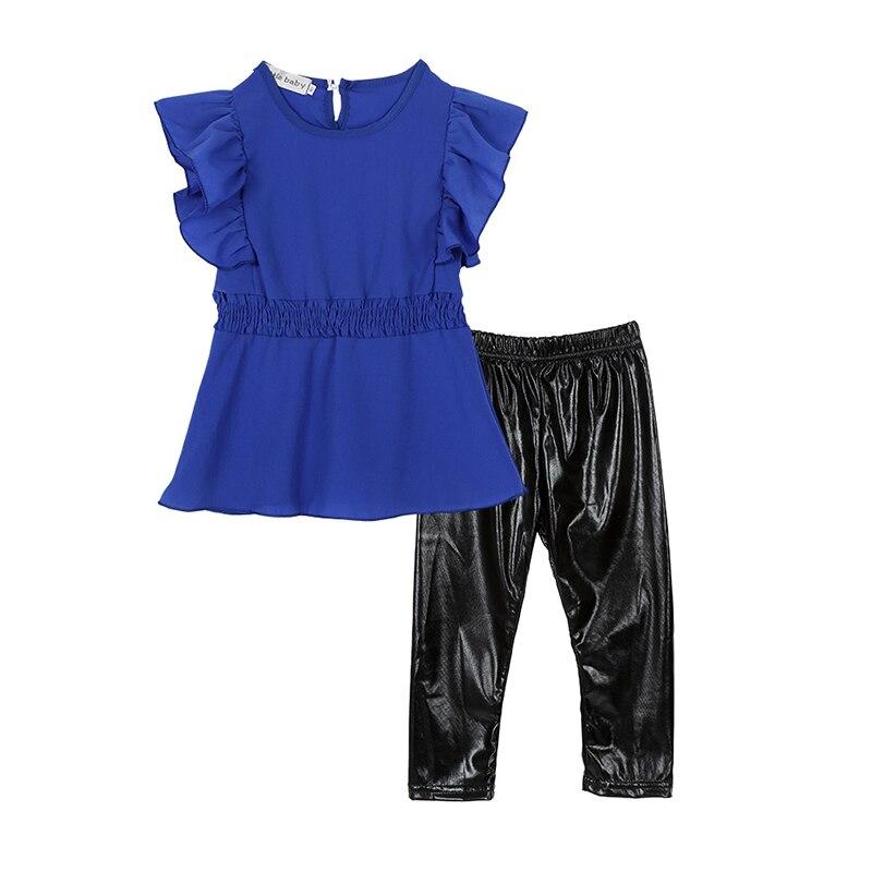 New Fashion Kid Girls Clothes Suit Blue Shirt Dressblack Leggings