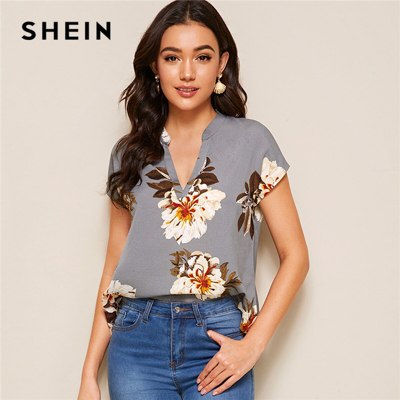 SHEIN Floral Print V-cut Neck Dip Hem Top Blouse Women Summer Boho Casual Cap Sleeve Asymmetrical Hem Womens Tops And Blouses