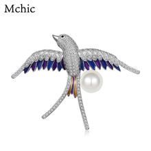 Mchic Delicate Enamel Swallow Bird Pearl Luxury Fashion Career Animal Brooch Pin Pendant For Women Unisex Suit Accessories Gift