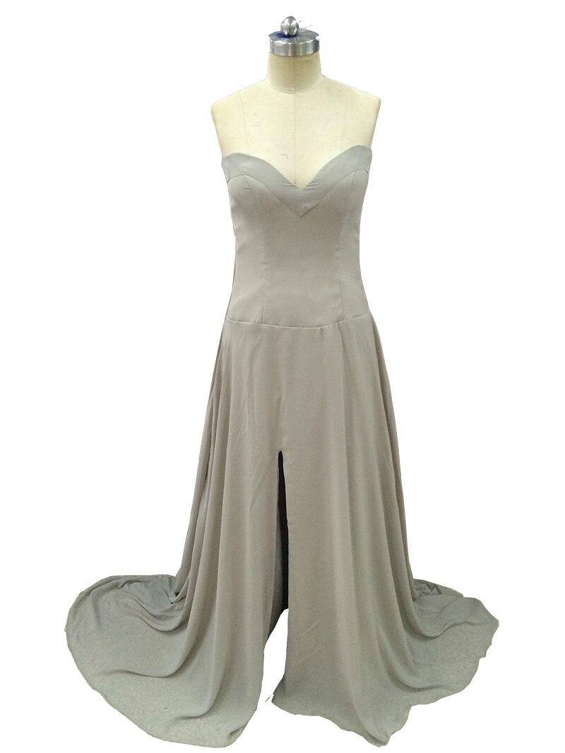 Cheap A-Line Sweetheart Chiffon Long High Slit   Bridesmaids     Dresses   Grey Party   Dresses