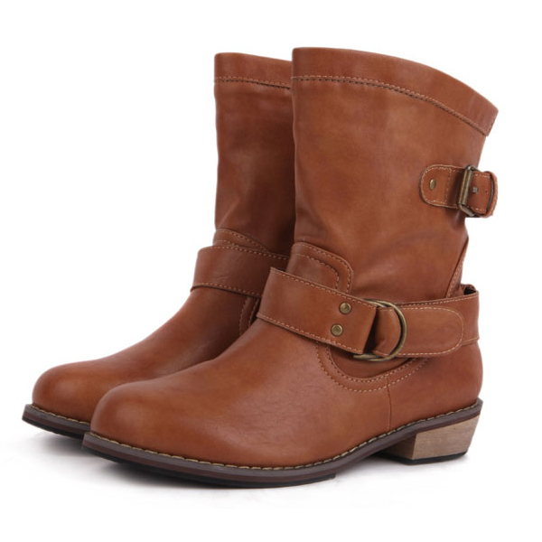 a4074dd2f8f4e US $36.52 |European Style Casual Womens Vintage Buckle Brown/black Low Heel  Ankle Boots Size 40-in Ankle Boots from Shoes on Aliexpress.com | Alibaba  ...