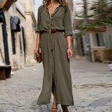 DeRuiLaDy 2018 New Fashion Women Casual Long Dress Autumn Winter Sleeve Button Shirt Maxi Dresses Ladies Vestido