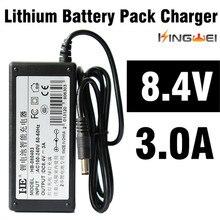KingWeiEU UK US plug 18650 batteria al litio 8.4 V, 3A charger battery pack charger con 1.2 m wired fornitura per la torcia elettrica del faro