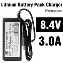 KingWeiEU UK us stecker 18650 lithium batterie 8,4 V, 3A ladegerät akku ladegerät mit 1,2 mt verdrahtete liefern für scheinwerfer taschenlampe