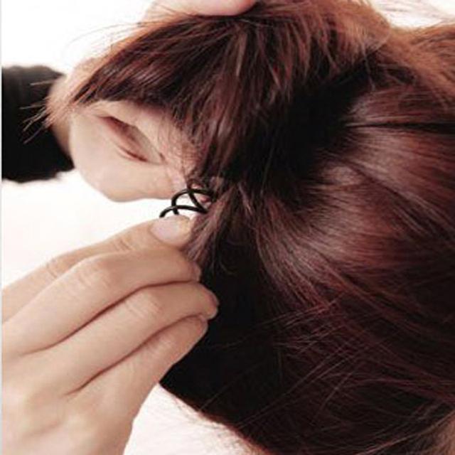 Black Spiral Hair Clips 10 pcs