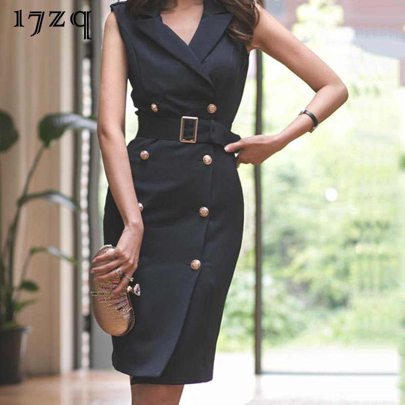 17zq Korean Version Of The Professional Wear Dress Female Suit Collar Sleeveless Black Slim Double-Breasted Bag Hip Dress D9940