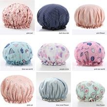 1Pcs Bath Hat Waterproof Shower Hair Cover Thick Shower Caps Double Layer Bathroom Women Supplies elastic band cap