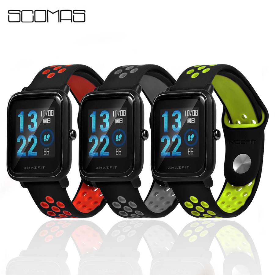 SCOMAS Replacement Wristband for Xiaomi Amazfit Bip Youth Strap Double Color Silcione Watch Band for Huami Amazfit Accessories hiperdeal breathable watch band lightweight ventilate wrist strap comfortable wristband for huami amazfit bip youth watch