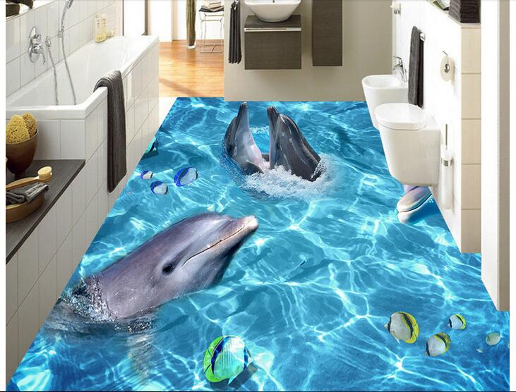 3 d pvc flooring custom photo mural waterproof floor picture Dolphin park wallpaper for walls 3d room decoration painting free shipping custom 3d dolphin octopus shopping mall aquarium waterproof pvc floor wallpaper mural