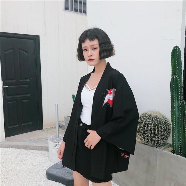 2018 New Korean Fashion Woman Kimono printed Crane kimono Chinese wind restoring ancient ways thin coat sun-protective clothing  4
