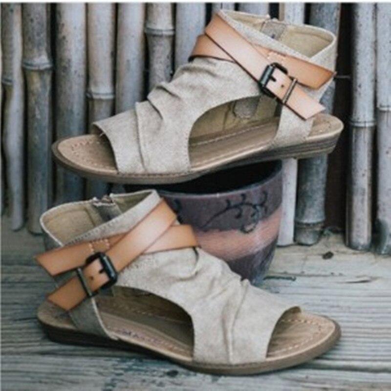 VTOTA Frauen Sandalen Gladiator Peep Toe Schnalle Zipper Design Römischen Sandalen Frauen Flache Sommer Strand Damen Schuhe Chaussure Zapatos
