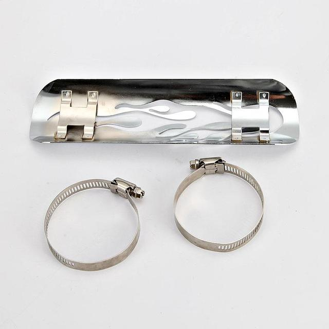 US $16 57 |Motorcycle Flame Hollow Exhaust Muffler Heat Shield With 2  Adjustable Mounting Clamp With 40mm~63mm (1 5/8