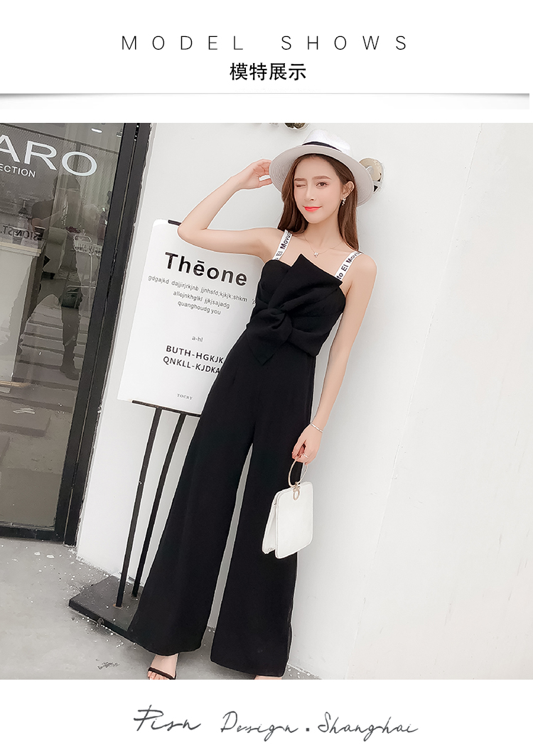 Summer New Sling Bowknot Rompers Womens Jumpsuit Fashion Wide Leg Pants Thin Combinaison Femme Elegant Ol Clothes For Women 8
