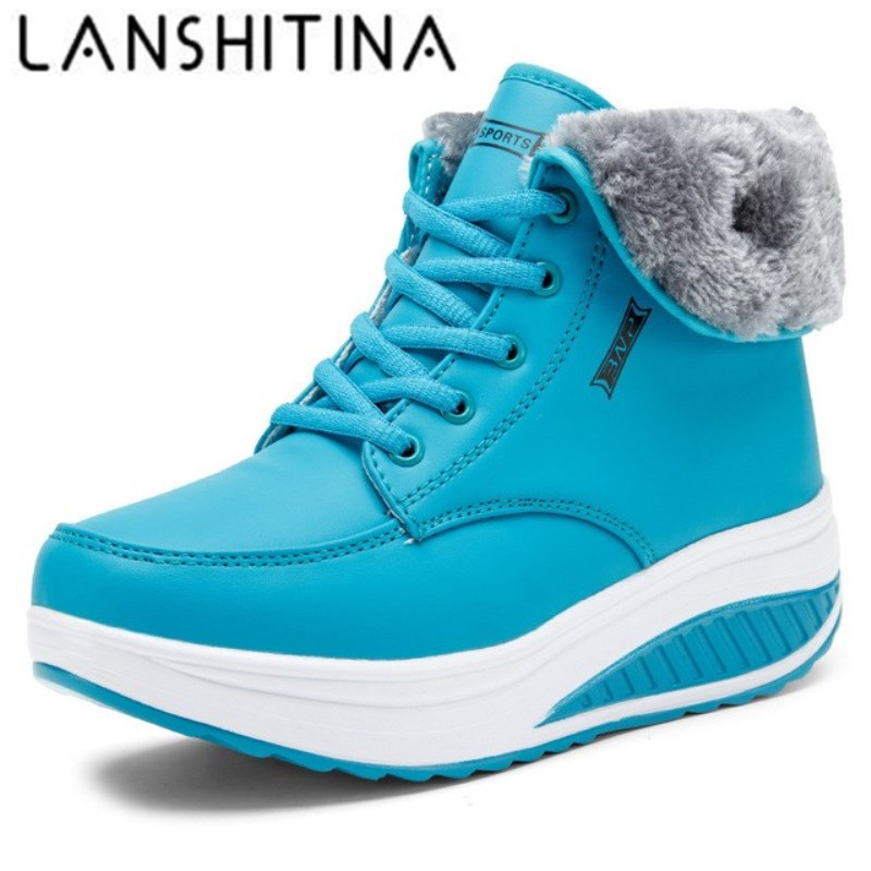 Women Boots 2018 Winter Swing Shoes Warm Snow Fur Ankle Boots For Women Wedge Heel Boots Platform Sneakers Cotton Casual Shoes women winter warm snow boots cotton shoes hidden wedges heel increased ankle snowshoes lt88