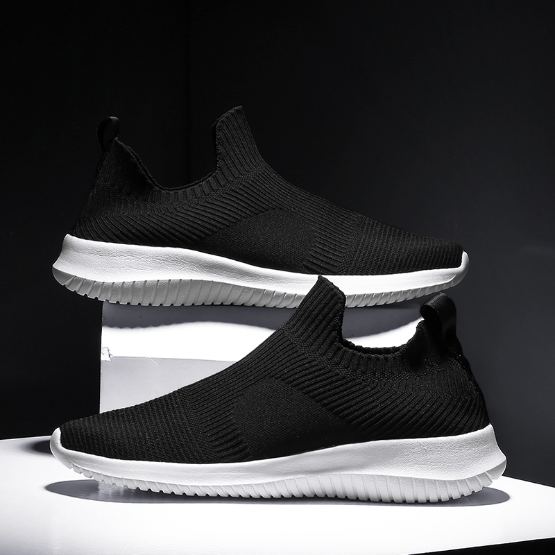 Solid White Fashion Knitting Casual Shoes Men Super Light Breathable Stretch Socks Sneakers Slip On Tenis Masculino Black 1