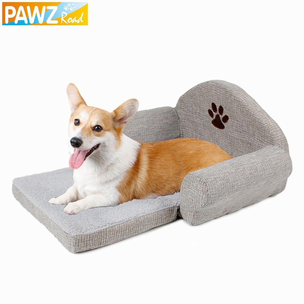 Freeshipping Dog Bed Pet Soft Kennel Cute Paw Design Pet Sofa Gray Dog Sofa Dog Cat House Winter For Pet Great Quality