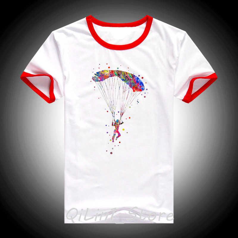 חידוש עיצוב מצנח רחיפה עף בצבעי מים הדפסת t חולצת נשים אקסטרים אוויר ספורט טי חולצה femme לבן אופנה חולצה נשי
