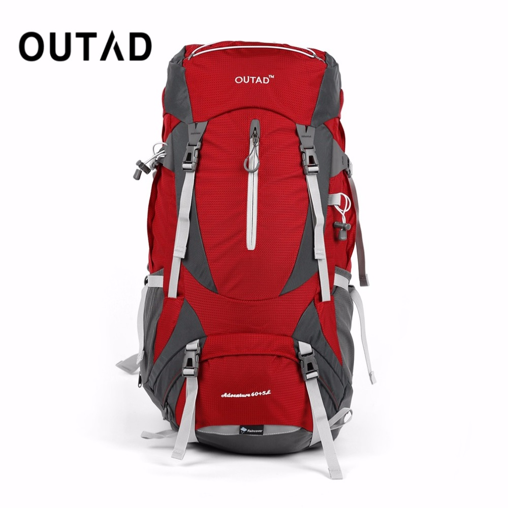 цена OUTAD 60+5L Outdoor Water Resistant Nylon Sport Backpack Hiking Bag Camping Travel Pack Mountaineer Climbing Sightseeing Hike
