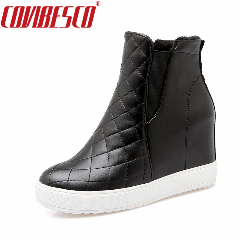 COVIBESCO Black Women Ankle Boots Wedges High Heel Shoes ...