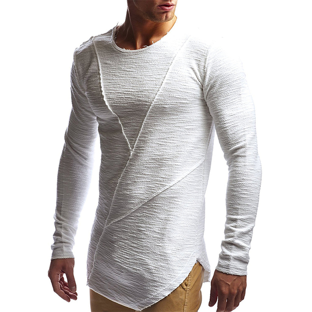 Новая мода Мужская футболка 2018 осень и зима с длинным рукавом сплошной цвет Футболка мужская брендовая одежда тонкая футболка футболка мужская хлопок черная футболка Твердый цвет длинный рукав Футболка мужской