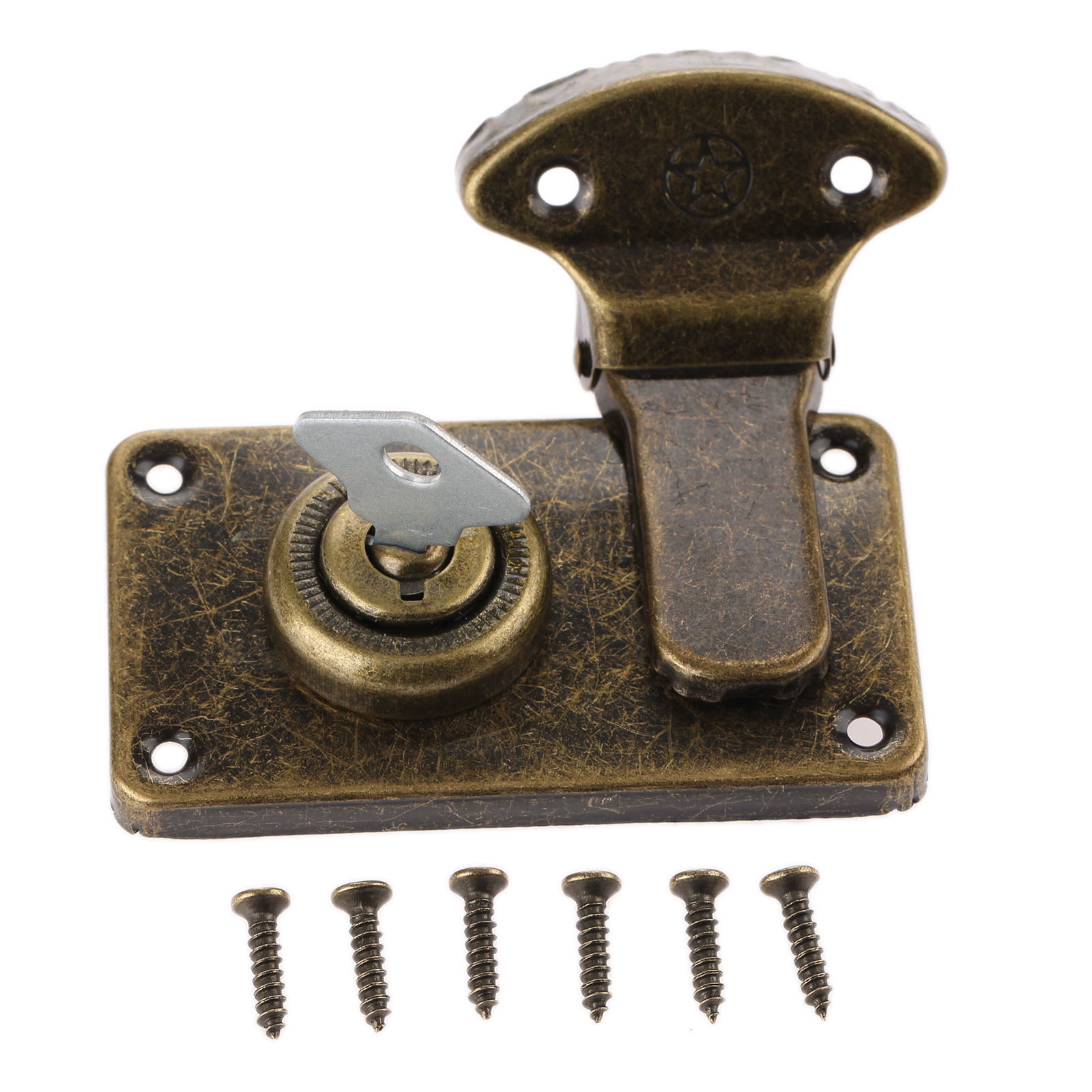 Vintage Furniture Hardware Antique Box Latches Decorative Hasp Jewelry Wooden Box Suitcase Hasp Latch Toggle With Key and Screw mobile phone