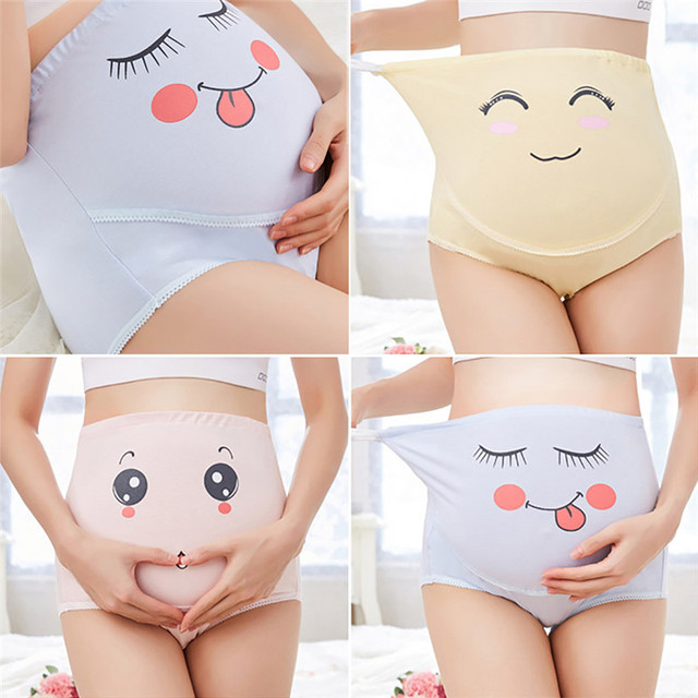 c39f15deed6b1 High Waist Belly Support Pregnant Women Underwear Cartoon Face Pattern  Panties Breathable Cotton Adjustable Maternity Underwear