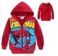 Moda meninos crianças bebê crianças top roupas coton spidman caricatura hoodies zipper Cardigan veludo plus outerwears camisolas