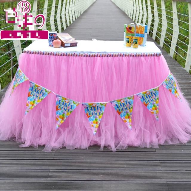 80X915CM Girl Princess Birthday Party Table Cloth Wedding Pink Attendance Tutu Skirt