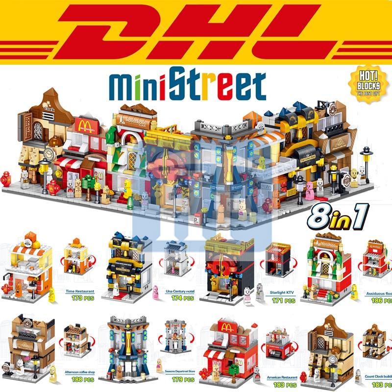 2017 New 8 In 1 Mini City Street Figures Cafe Shop Hotel KTV Restautant Model Building Kits Blocks Bricks Toys For Children Gift 8 in 1 military ship building blocks toys for boys