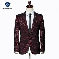 Stilvolle Männer Gedruckt Blazer Masculina Slim Fit 2017 Wind Rot Hochzeit anzug Blazer Für Männer Blau Shiny Black Jacke Bühne Tragen 5XL
