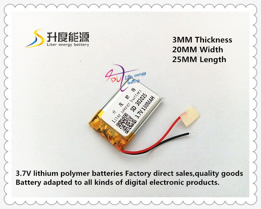 bluetooth li-ion battery 3.7v 130mah <font><b>302025</b></font> rechargeable image