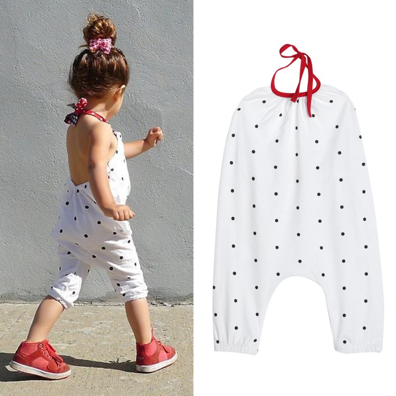 2017 Summer Children Girls Clothing Suit Fashion Girl Halter Jumpsuit Kids White Cute Polka Dot Print Rompers One Piece Suit LL6 2016 fashion summer rare editios for girls cute clothing outfits kids short sleeve bow cotton polka dot dress with pants suit