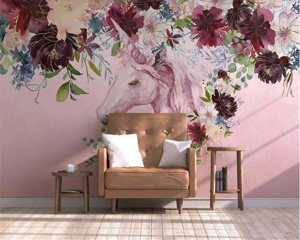 Beibehang New Fashion Personality Silk Cloth 3d Wallpaper Nordic Simplicity Unicorn Floral Background Wall Painting Papier Peint