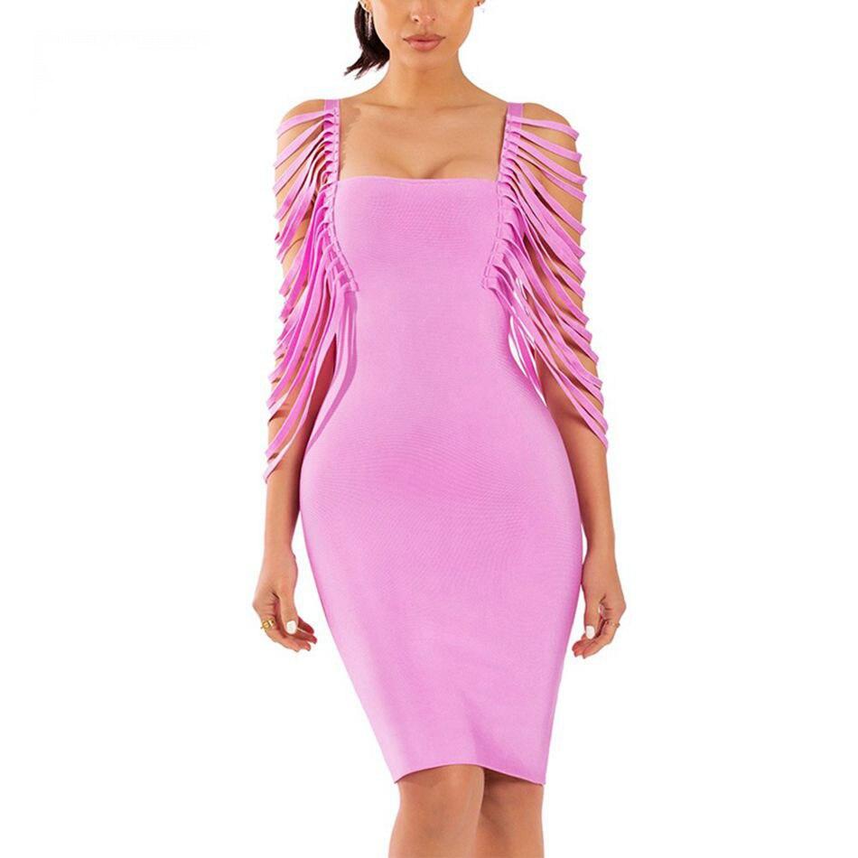 Club Seamyla Gros Celebrity Nouvelle 2018 Bandage Moulante Femmes Party Robe D'été Robes Sexy Vestidoes Fringe Lavande rrZSwqvp