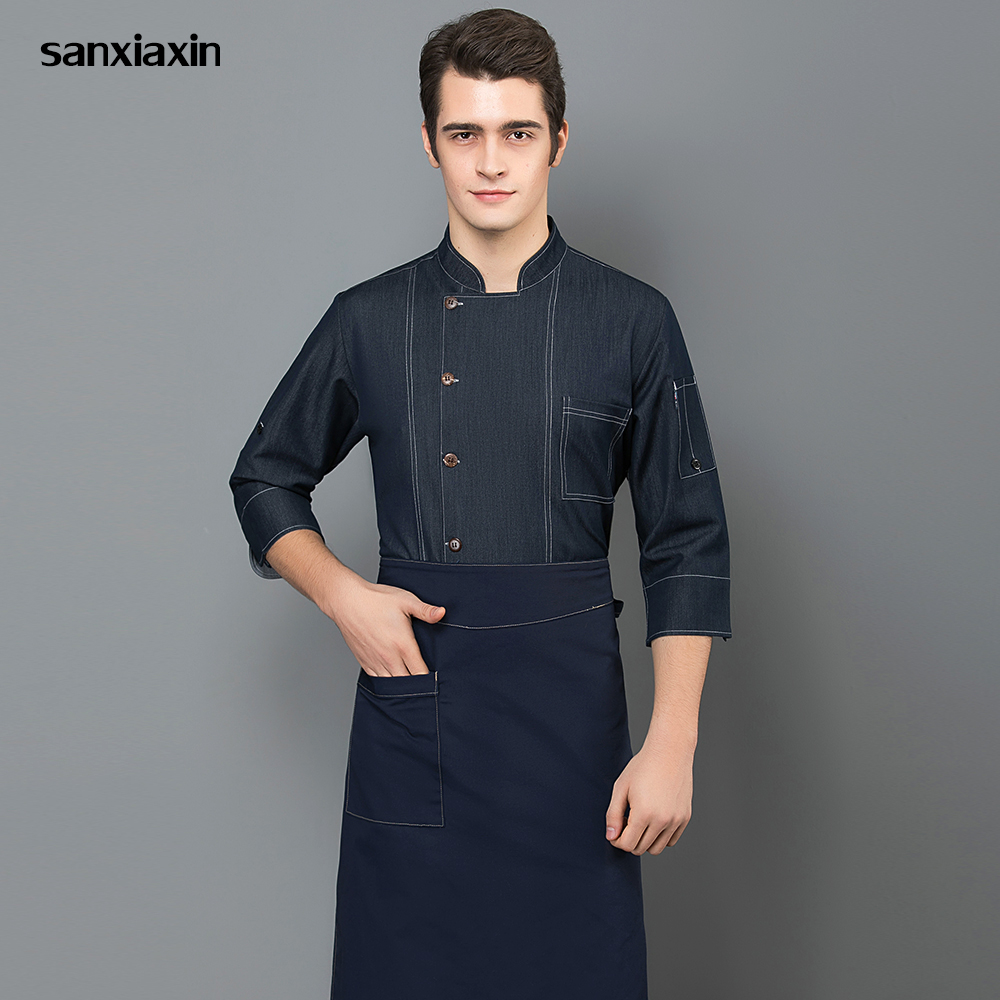 991024cefff Cheap Sanxiaxin chef chino restaurante uniformes panadería hotel uniforme  chef abrigo Unisex de servicio de alimentos