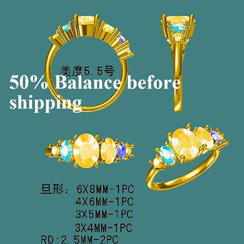 Kuololit تخصيص الصلبة الذهب خاتم الياقوت الطبيعي توباز الزبرجد المويسانتي 10K الذهب والمجوهرات-في خواتم من الإكسسوارات والجواهر على  مجموعة 1